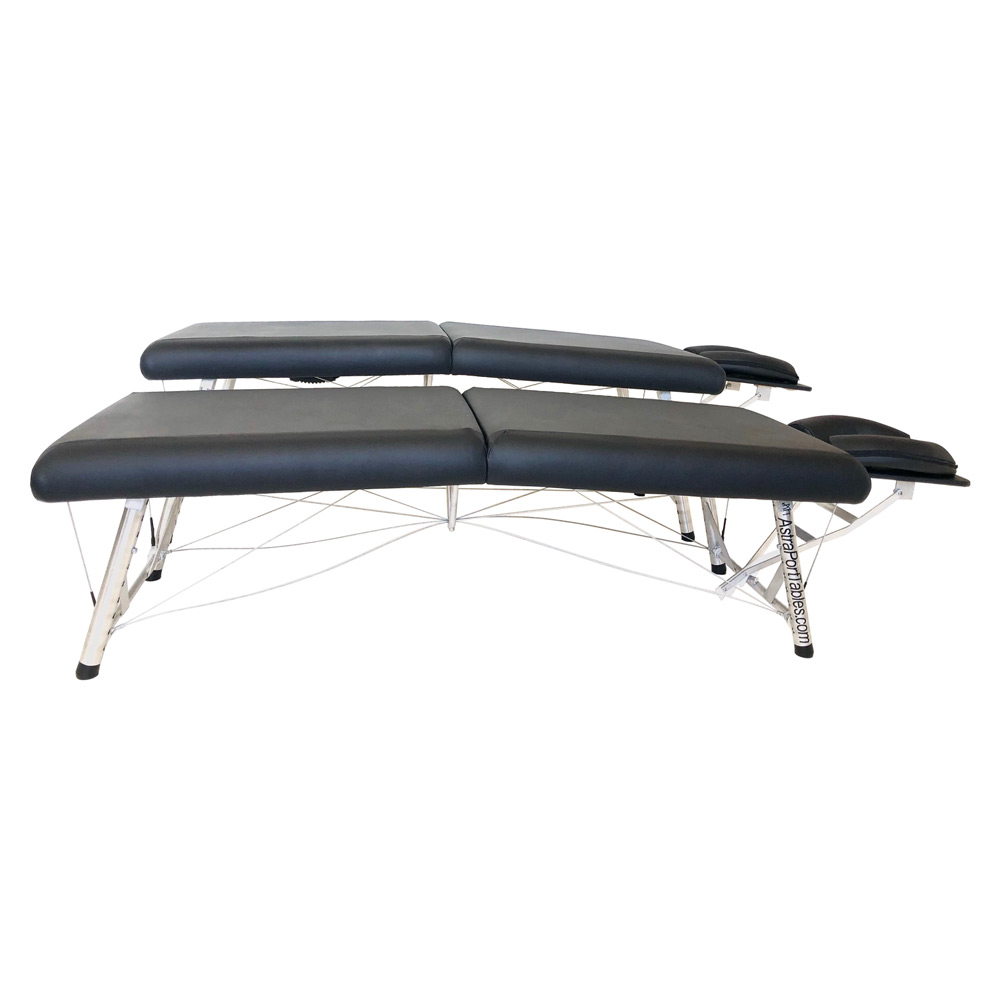 """Chiroport elite """"extra low"""" edition. Lightweight portable chiropractic table with adjustable height range, low comparison side view."""